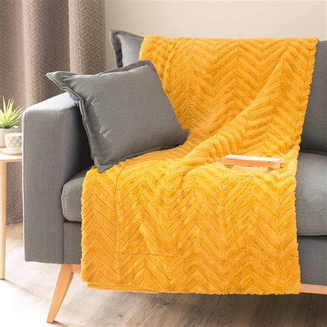 jeté de canapé jaune jeté en fausse fourrure jaune moutarde 130 x 170 cm
