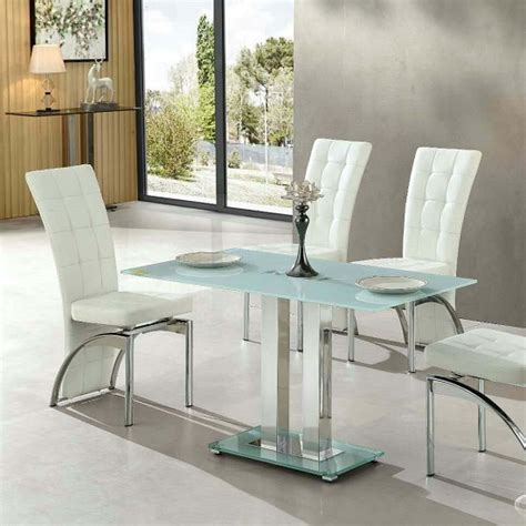 Jet Small Glass Dining Table Rectangular In White 27421