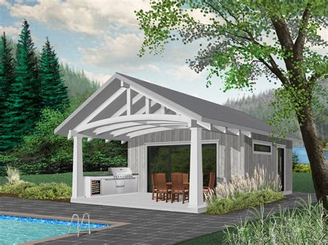 Pool House With Grilling Porch # 028p