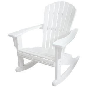 polywood rocking chairs home depot polywood seashell white patio rocker shr22wh the home depot