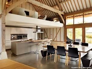 Deco salle a manger gris 15 chambre avec mezzanine with for Deco cuisine avec salle a manger merisier
