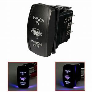 7 Pin Blue Led Laser Momentary Rocker Switch Winch In  Out