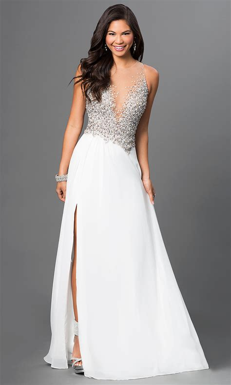 long jeweled bodice prom dress  ivory promgirl