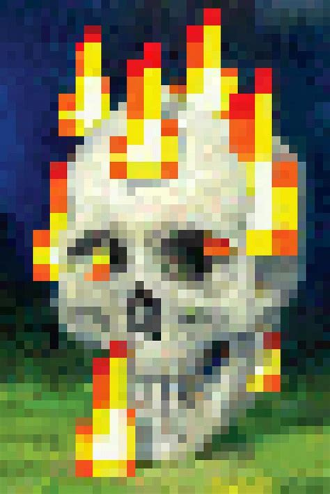 minecraft flaming skull poster  hot posters