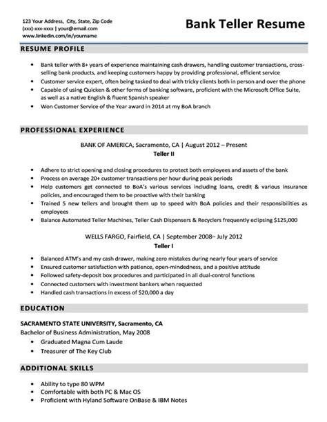 Bank Teller Resume Sle by Bank Teller Resume Ipasphoto