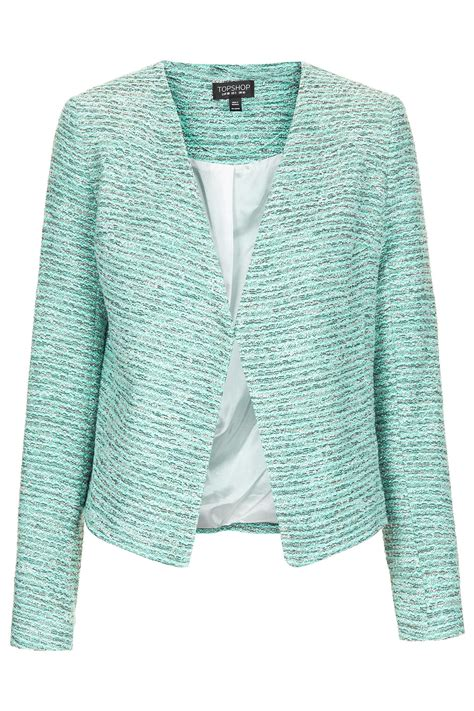 topshop boucle collarless jacket  green mint lyst