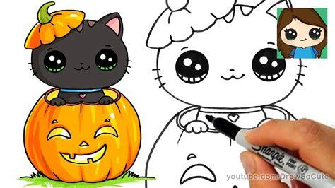 draw  kitten  halloween easy clipzuicom