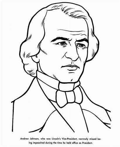 Andrew Johnson Coloring Jackson Pages Presidents Facts