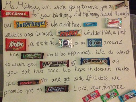 I was going to give you 100 grand for your birthday but it slipped through (someone's name)'s butterfinger. 🍫🍫Candy Bar Birthday Card🍫🍫   Trusper