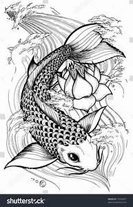 Koi Tattoo Vorlagen : pez japanese koi stock illustration 70358497 shutterstock ~ Frokenaadalensverden.com Haus und Dekorationen