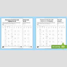 * New * Dinosaurs Crack The Code Addition To 10 Worksheets