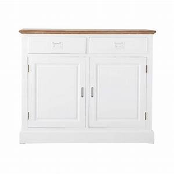 Buffet Blanc Maison Du Monde : buffet 2 portes 2 tiroirs en paulownia blanc leandre maisons du monde ~ Teatrodelosmanantiales.com Idées de Décoration