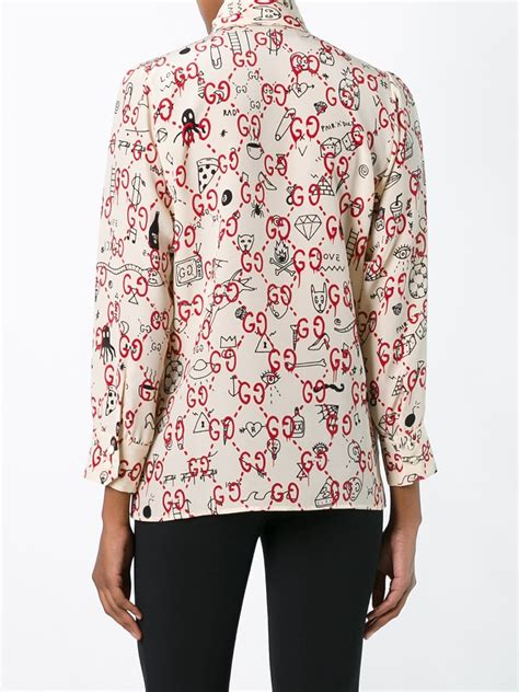 gucci blouse gucci bow printed silk chiffon blouse in blue lyst