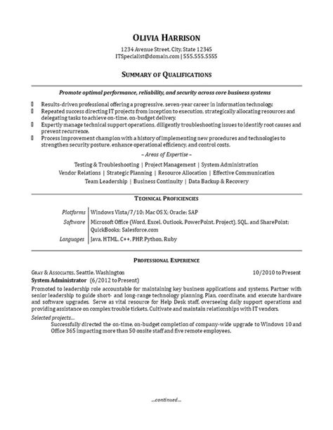 IT Work Experience Resume Sample - How to create an IT Work Experience Resume Sample? Download