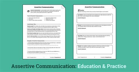Assertive Communication (worksheet)  Therapist Aid
