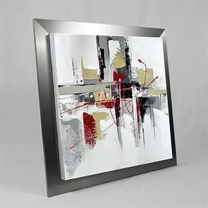 Tableau Metal Design : tableau design 60x60 gris rouge et ecru toile design avec m tal ~ Teatrodelosmanantiales.com Idées de Décoration