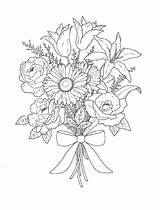 Coloring Bouquet Flowers Pages Printable sketch template