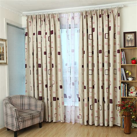 beige plaid print polyester modern bedroom kids curtains