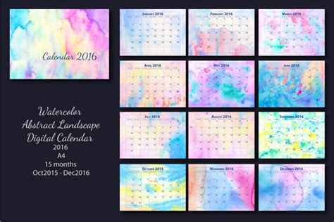 monthly calendar watercolor  stationery templates