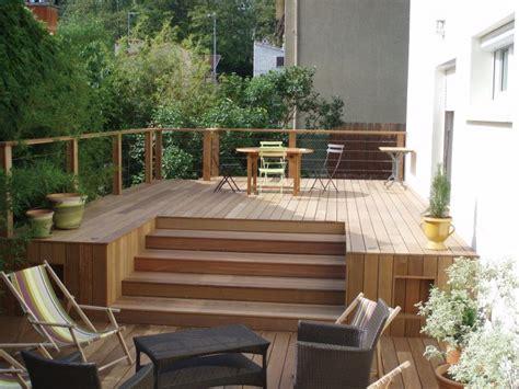 idee de patio en bois construction maison individuelle bois id 233 e terrasse