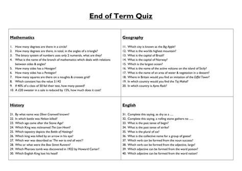 term general knowledge quiz  ryansmailes
