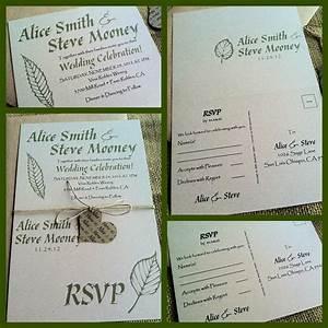 rustic wedding invitations eco friendly fall foliage With hemp paper wedding invitations