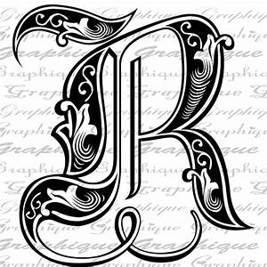 letter initial r monogram old engraving style type text With engraving letter styles