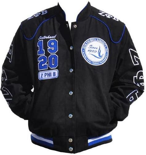 zeta phi beta jacket racing style black   black
