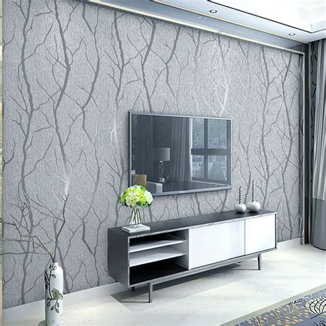 european  embossed grey wallpaper birch tree home decor
