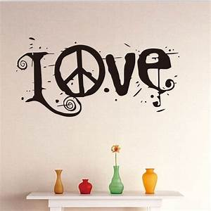 New removable letter word love peace sign vinyl wall