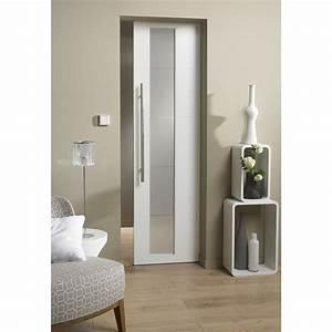 Ensemble porte coulissante alaska mdf laque avec galandage for Porte de douche coulissante avec salle de bain laqué blanc