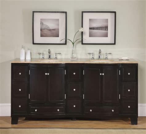 dark brown double sink vanity  travertine