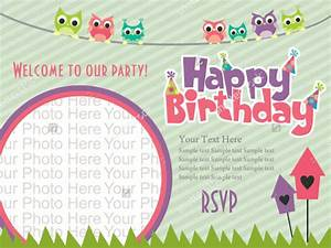 22 beautiful kids birthday invitations free psd eps With happy birthday invites template