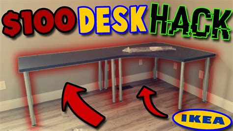 how to build an l shaped desk from scratch 100 ikea desk hack unboxing build linnmon l shaped