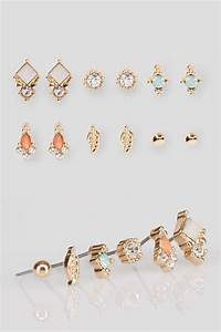 6 PACK Assorted Gold Stud Earrings