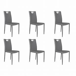 Kira lot 6 chaises grises achat vente chaise salle a for Salle À manger contemporaineavec chaises salle À manger couleur