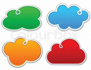 Vector illustration of blank notice clouds shapes for any