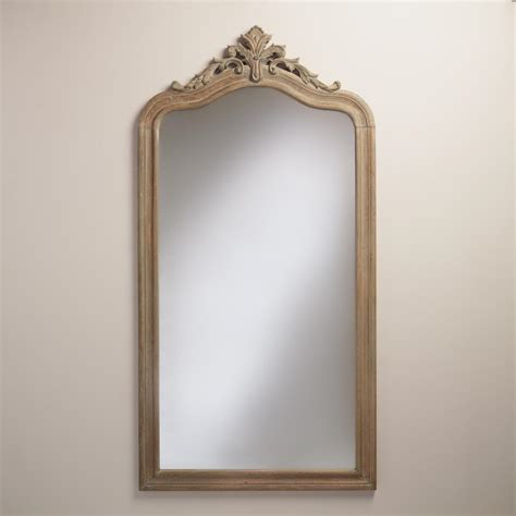 floor mirror wood gray carved wood livia floor mirror world market