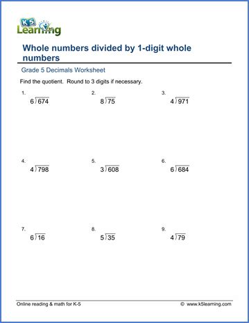 Grade 5 Math Worksheet Divide Whole Numbers By Whole Numbers (19) With Rounding  K5 Learning
