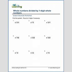 Grade 5 Decimals Worksheets Divide Whole Numbers By Whole Numbers  K5 Learning
