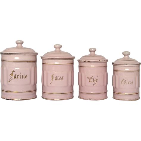 enamel kitchen canisters pink enamel french graniteware kitchen canisters from yesterdaysfrance on ruby lane