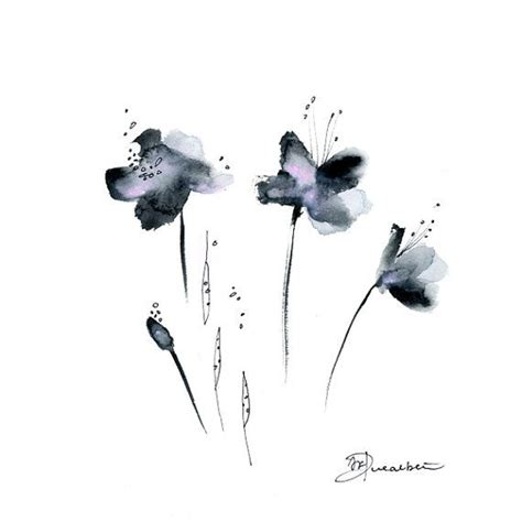 grey flowers watercolor painting original abstract