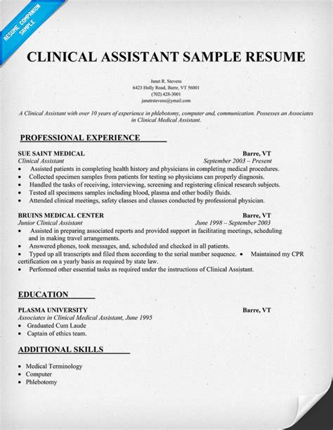 Clinical Assistant Resume sle resumes for assistant sle resumes