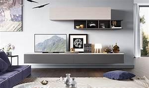 Meuble Mural Salon : meubles muraux pour salon tv design laqu gris et bois clair ~ Teatrodelosmanantiales.com Idées de Décoration