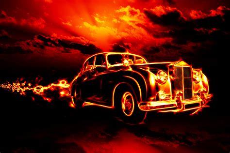 vintage car  flames flying   clouds
