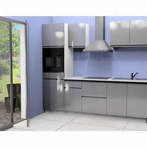 Cuisine equipee anna 2 l255 cm coloris gris pas cher a for Petite cuisine équipée avec meuble de salle a manger complete