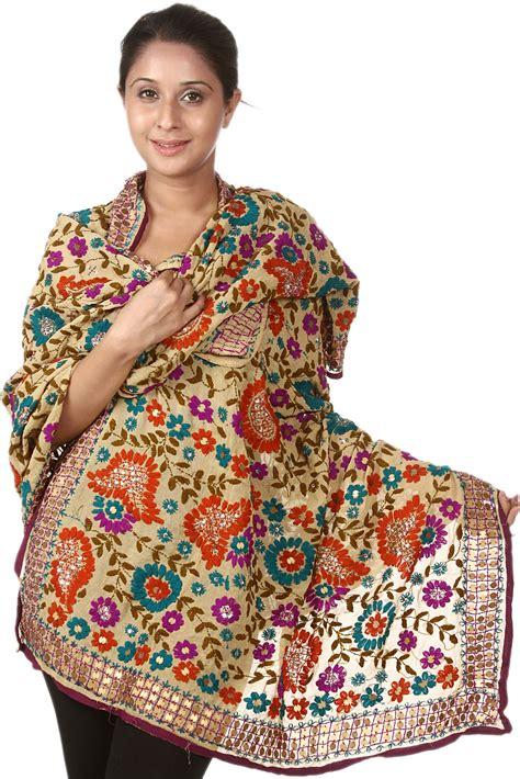 silk pajamas beige phulkari dupatta from punjab with ari embroidery by