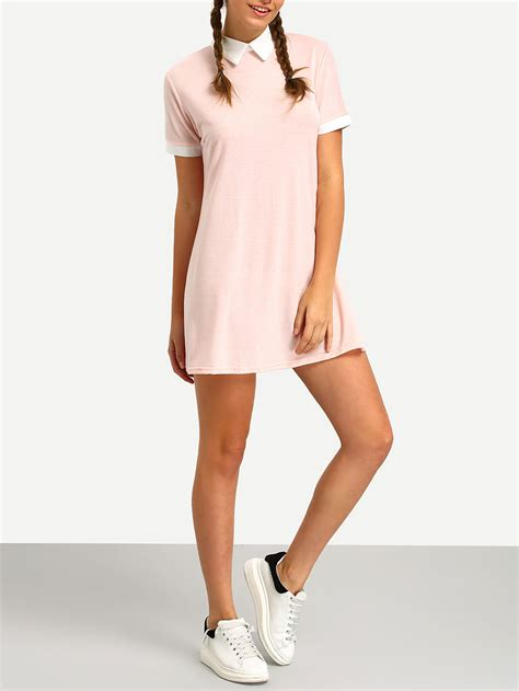 sleeve contrast dress pink contrast collar shirt dressfor romwe