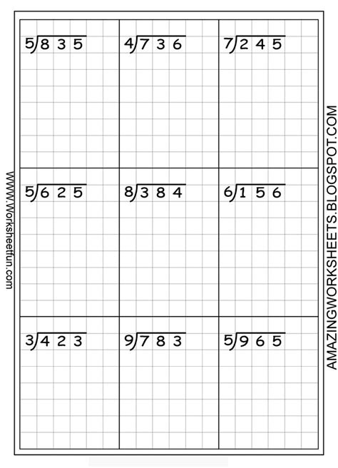 long division worksheets free using graph paper keeps the numbers lined up math