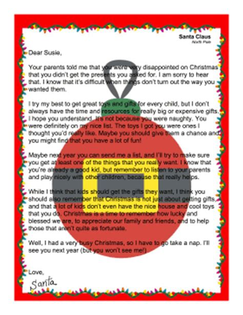 letter to child about santa i think i m as ready as i m santa letter child didn t get desired present 70020